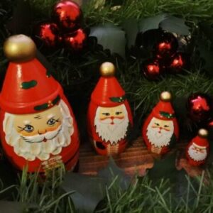 WOODEN Christmas Russian Nesting dolls vintage, gold, 3d beard santa claus xmas