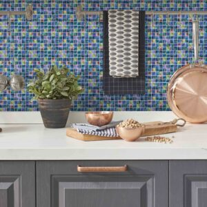 [Iridescence] Mosaic tile stickers transfers travertine stone KITCHEN BATHROOM peel and stick