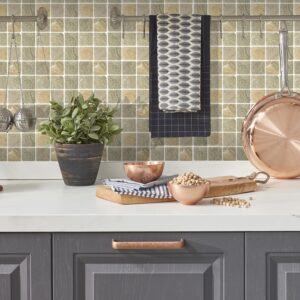 [Light Stone] Mosaic tile stickers transfers travertine stone KITCHEN BATHROOM peel and stick