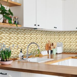 [Cream Subway] Mosaic tile stickers transfers travertine stone KITCHEN BATHROOM peel and stick
