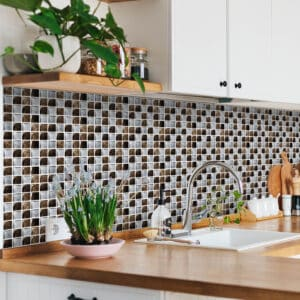 [Brown Metallic] Mosaic tile stickers transfers travertine stone KITCHEN BATHROOM peel and stick