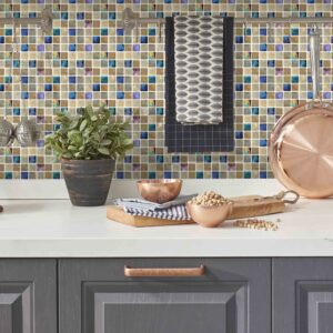 [Stone Iridescence] Mosaic tile stickers transfers travertine stone KITCHEN BATHROOM peel and stick