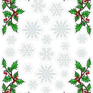 Holly corners and Christmas Snowflake Window Stickers Cling