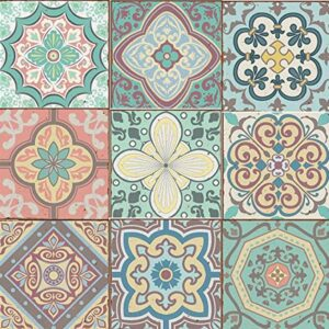 Pack of 9 Mixed Pastel blue pink Victorian Moroccan retro traditional tile transfers stickers bathroom kitchen stick on wall tile peel and stick 6×6 or 4×4