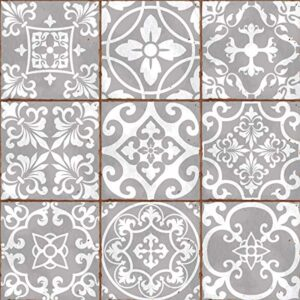 Pack of 9 Mixed grey Victorian Moroccan retro traditional aged style Mosaic style tile transfers stickers bathroom kitchen stick on wall tile peel and stick Trendy retro