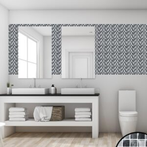[Black Glass Metallic] Mosaic tile stickers transfers travertine stone KITCHEN BATHROOM peel and stick