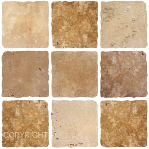 [9 Square Brown] Mosaic tile stickers transfers travertine stone KITCHEN BATHROOM peel and stick