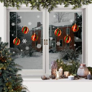 Christmas stained glass Bauble snowflakes Window Stickers Clings Reusable CLING BUY 1, GET 1 FREE! Unlike others these are double sided