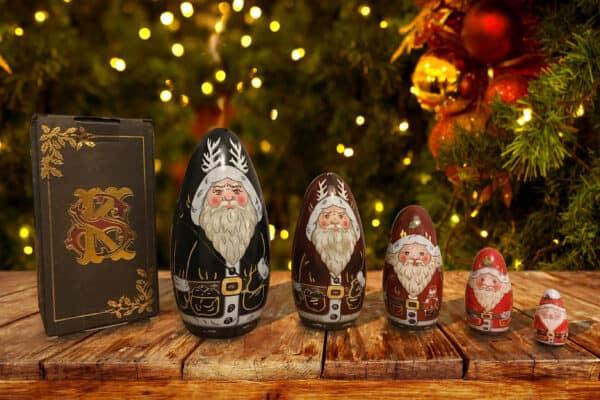 Luxury large krampus nesting russian dolls set,