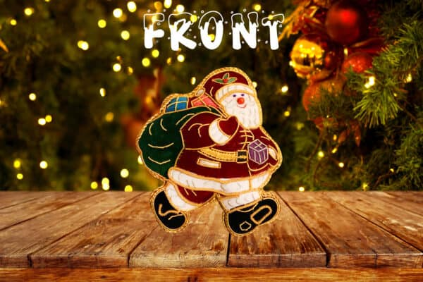 Handmade double sided Krampus Santa christmas tree decoration gold edging Encourages your child to be good. special keepsake