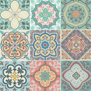 MODERN Self Adhesive Wall Tiles Stickers – 18 PCS Moroccan Mosaic Style Kitchen Wall Art DIY Tiling Traditional Vintage Design Peel and Stick Tile Paint Stick on Tiles