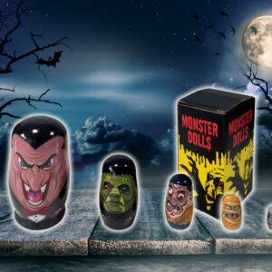 Tile Sticker Company 5pc halloween monsters dracula zombie wooden paint matryoshka babushka russian nesting dolls russian doll set stacking
